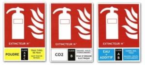 Les panneaux de classe de feu indiquent sur quel feu utiliser l'extincteur à côté duquel ils sont posés. Il existe différents classes de feu : A B C D et F
